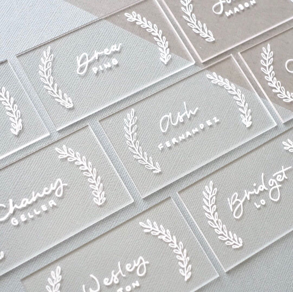 Clear Rectangle Acrylic Escort Place Cards For Wedding, Pack of 20