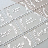 UNIQOOO 20 Count Clear Acrylic Escort Place Cards - Rectangle Acrylic Plates - Perfect for Wedding, Birthday Parties, Table Numbers, Guest name, Food Signs and Special Event Decoration, 3 1/2 x 2 inch