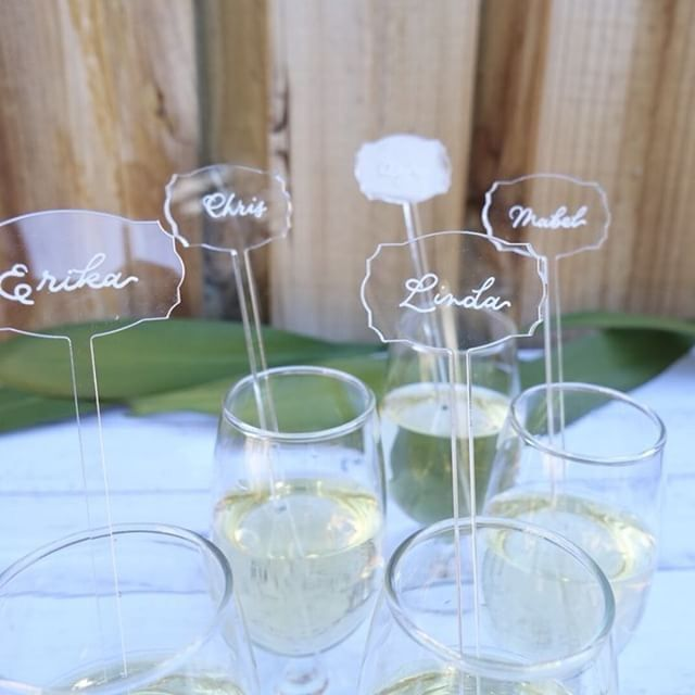 DIY Clear Acrylic Drink Stirrers- Cocktail Swizzle Stir Sticks with Escort Place Cards - 6 Inch