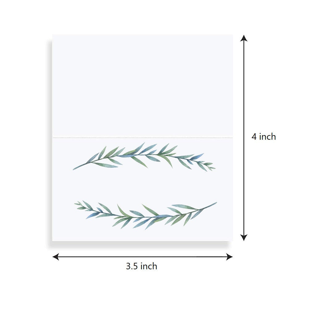Greenery Folded Table Tent Place Cards | Simple Elegant Botanical Twig Design, 50 Count