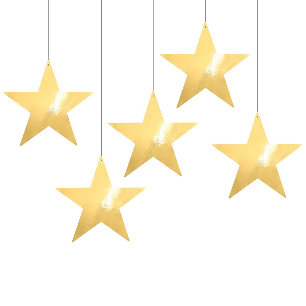 UNIQOOO 20PCS Metallic Gold Foil Star Cutout Bulk, Large 9 Inch,100% Recyclable, Pre Punched Hole for Hanging or Stick,1 Side Customizable White Cardboard,Precut Party Christmas Sports Decorations