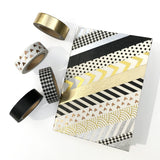 10 Rolls Metallic Foil Gold Silver Black Washi Masking Tape Set, 32 Feet Each Roll