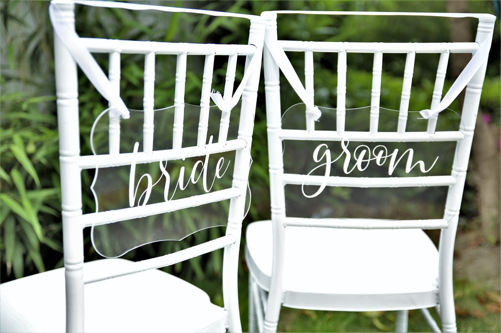 Bride & Groom Acrylic Chair Back Signs | Wedding Chair Back Sign | Printed Calligraphy Hanging Sign W/Ribbon, Set of 2