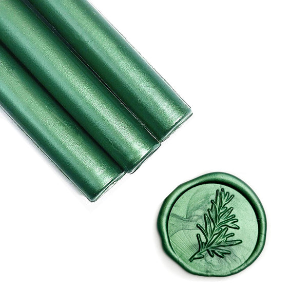 Metallic Botanical Green Glue Gun Sealing Wax Sticks, Pack of 8