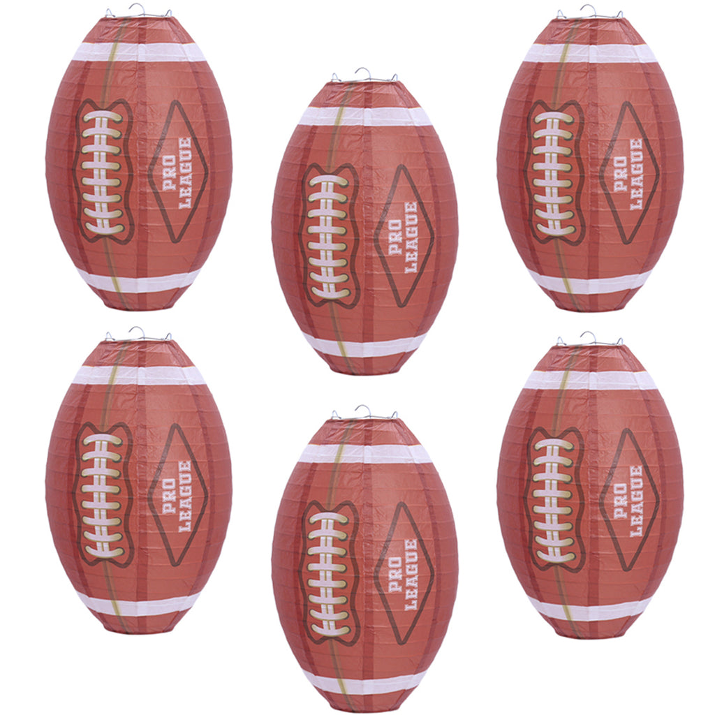 UNIQOOO 6Pcs Premium 12 Inch American Football Paper Lantern Set,Reusable Hanging Decorative Japanese Chinese Lanterns, Easy Assemble,Sports Fan Game Party Bar Decorations Kids Teens Team School
