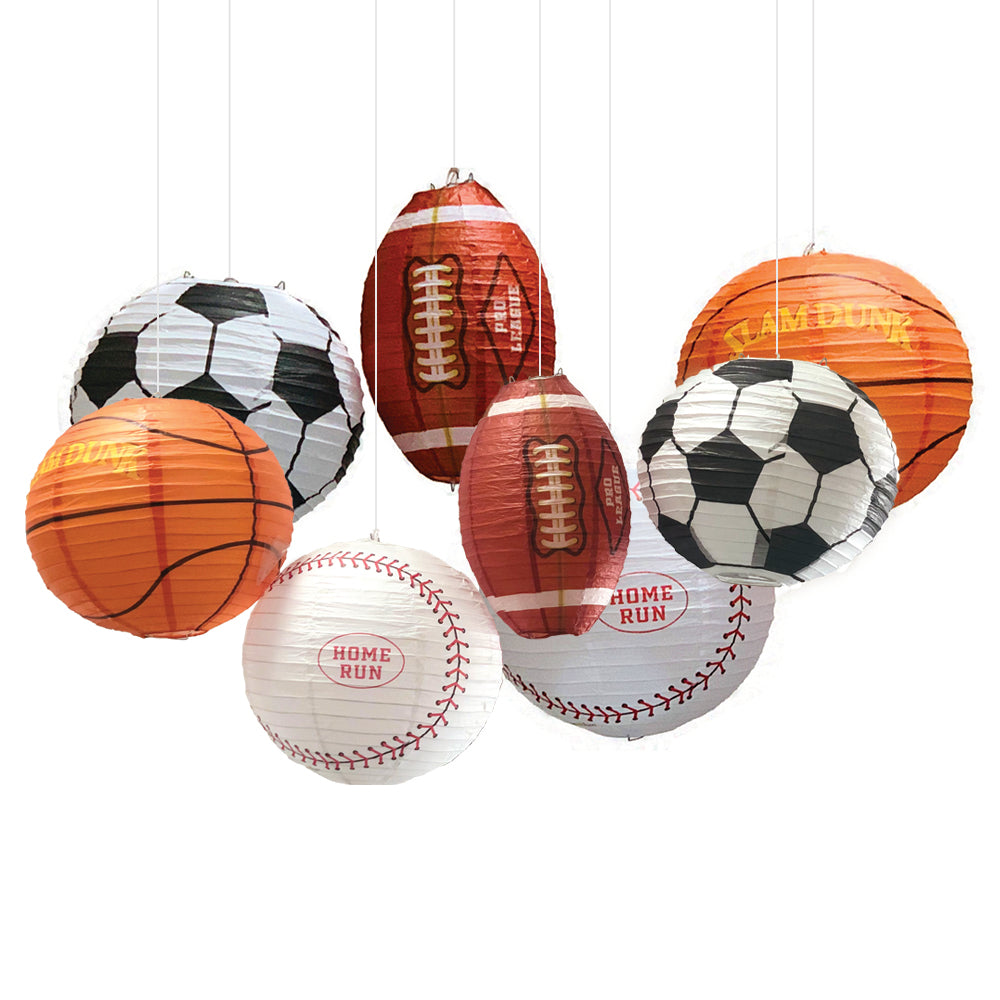 UNIQOOO 8Pcs Premium 12 Inch Assorted Paper Lantern Set, Soccer, American Football,Baseball,Basketball,Reusable Hanging Decorative Japanese Chinese Lanterns, Easy Assemble, Sports Fan Boy Decorations.