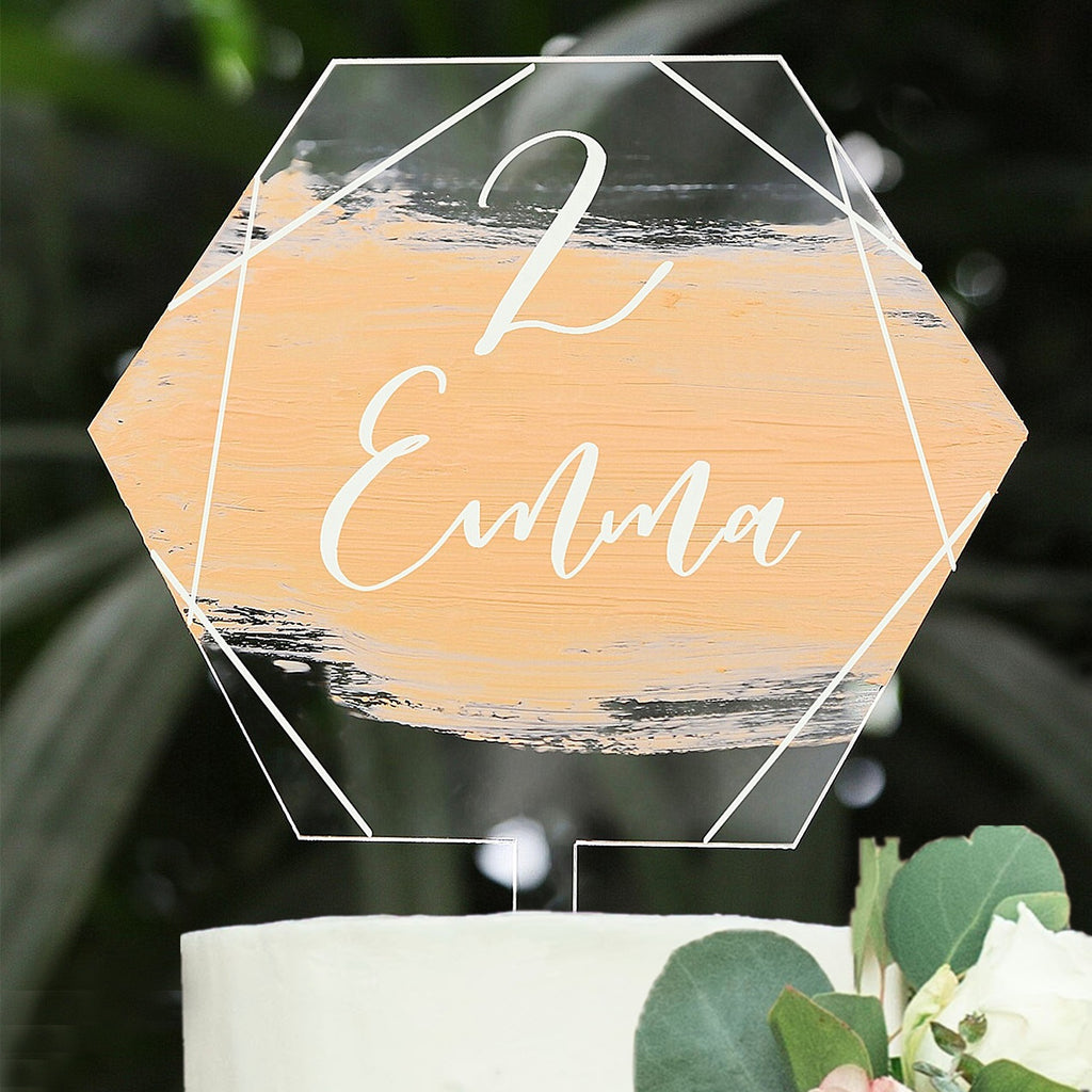 5 inch Hexagon Acrylic Cake Topper, 20 Count
