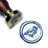 Cute Little Owl Wax Seal Stamp Kit, 2 Metallic Glossy Light Blue Wick Wax Sticks