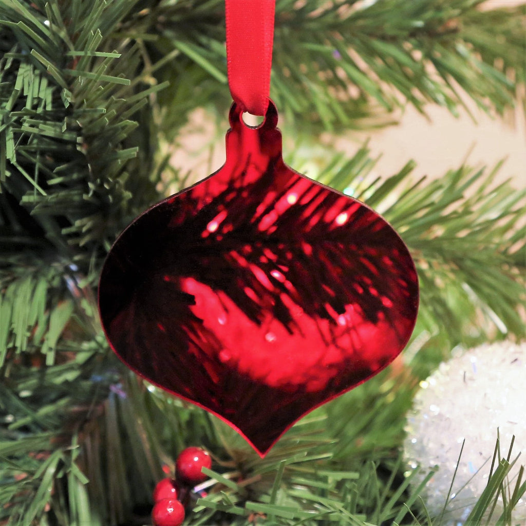 "3"" Ruby Red Onion Teardrop Acrylic Christmas Ornament, 20 Pack"