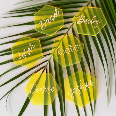 Neon Yellow Hexagon Acrylic Place Cards | DIY Wedding Event Table Seating Escort Cards, 20 Count