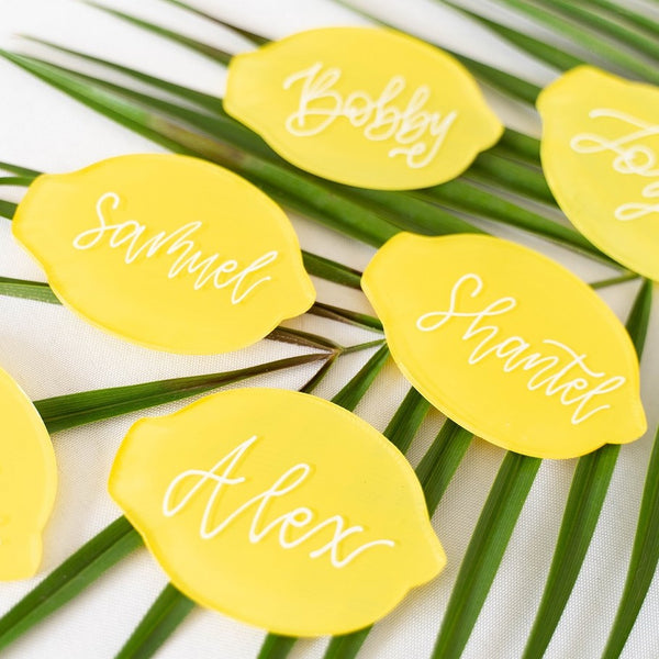 Main Squeeze Clear Lemon Acrylic Place Cards, 20 Count