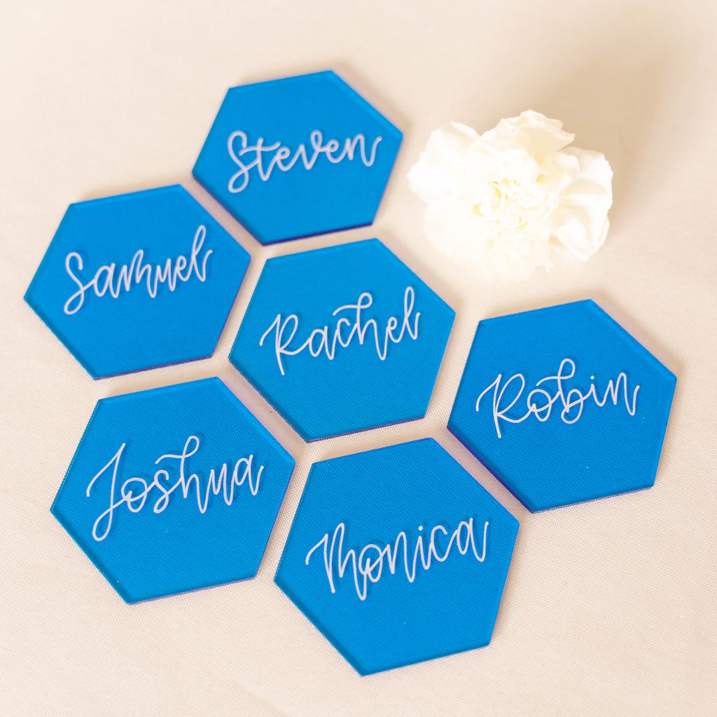 Tint Blue Hexagon Acrylic Place Cards | DIY Wedding Event Table Seating Escort Cards, 20 Count