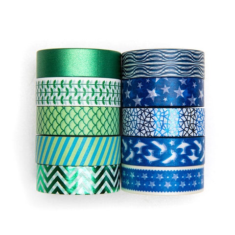 10 Rolls Metallic Geometric Patterns Green & Blue Washi Masking Tape Set, 32 Feet Each Roll
