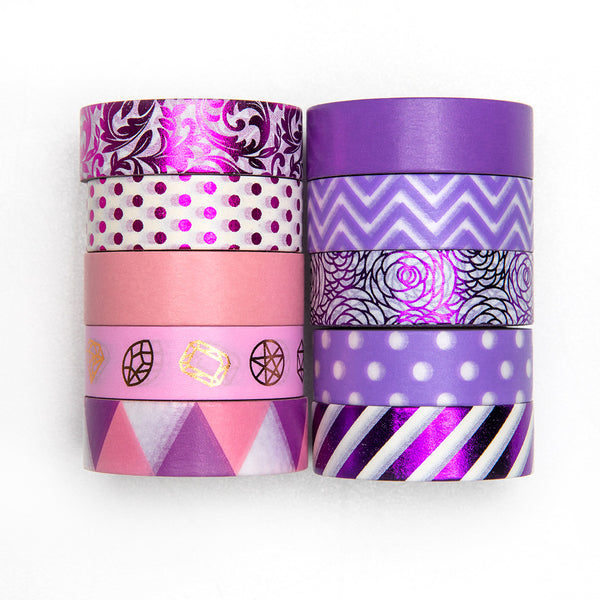 10 Rolls Metallic Geometric Patterns Pink & Purple Washi Masking Tape Set, 32 Feet Each Roll