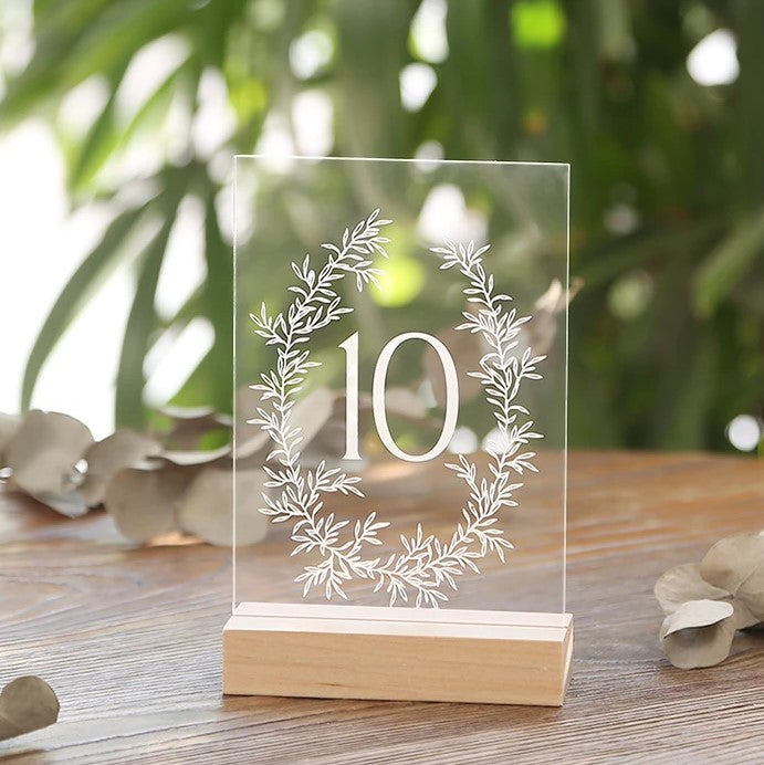 Printed Olive Wreath Acrylic Table Numbers For Wedding | 4x6 inch 1-20 With Wood Stands