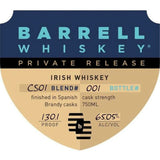 Barrell Private Release Irish Whiskey Finished in Spanish Brandy Casks CS01