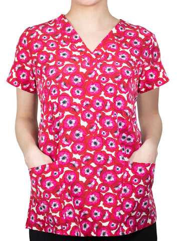 Pretty Poppies Women's Scrub Top - 1767