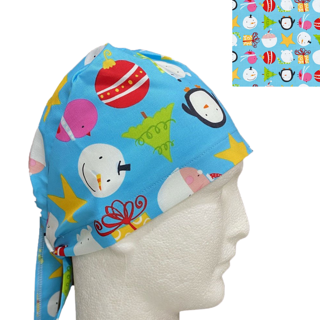 Christmas Tie Elastic Back Scrub Hats
