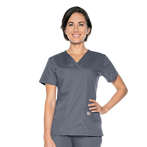 Scrubzone Mock Wrap Scrub Top Grey - 70224