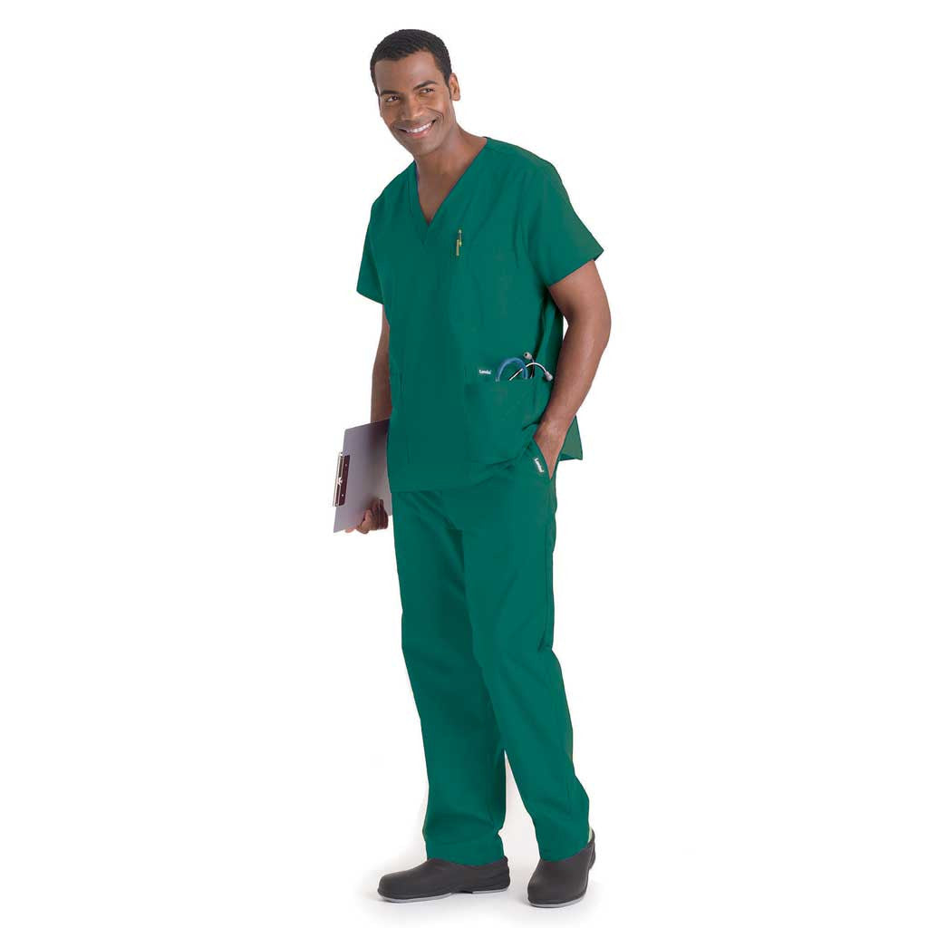 Landau Men's Multi-Pocket Scrub Set - Hunter Green