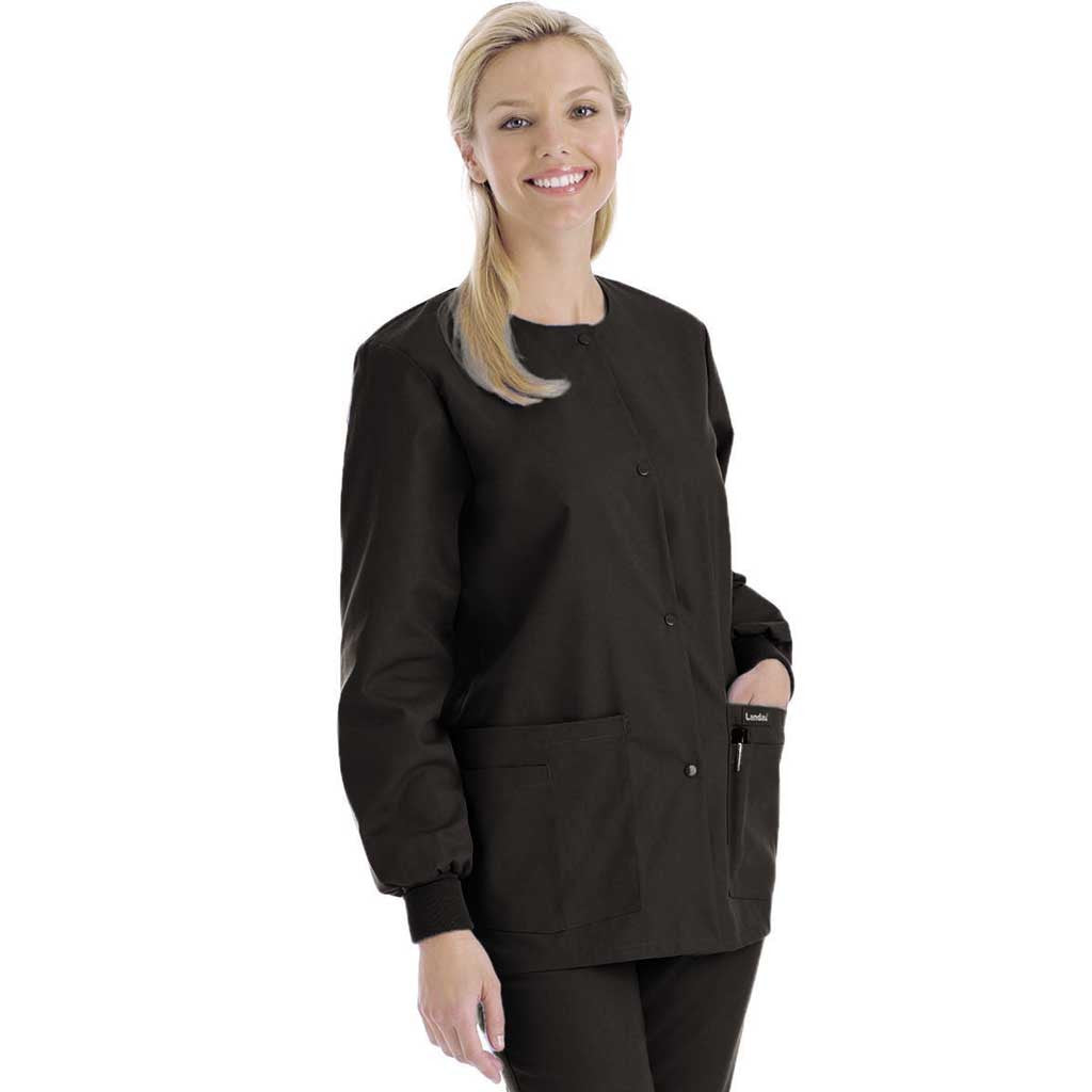 Landau Round Neck Warm-up Jacket - 7525 - Hunter Scrubs