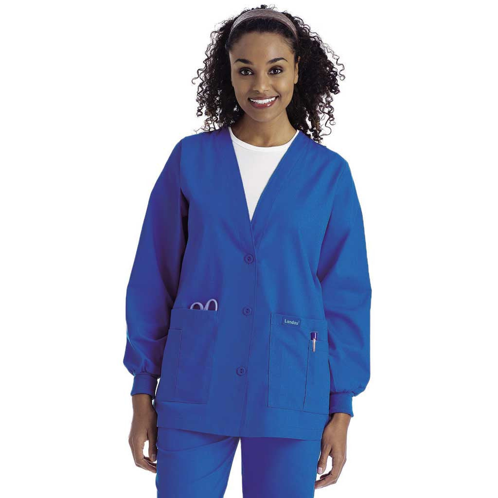 Landau V Neck Cardigan Warm Up Jacket 7535 Hunter Scrubs