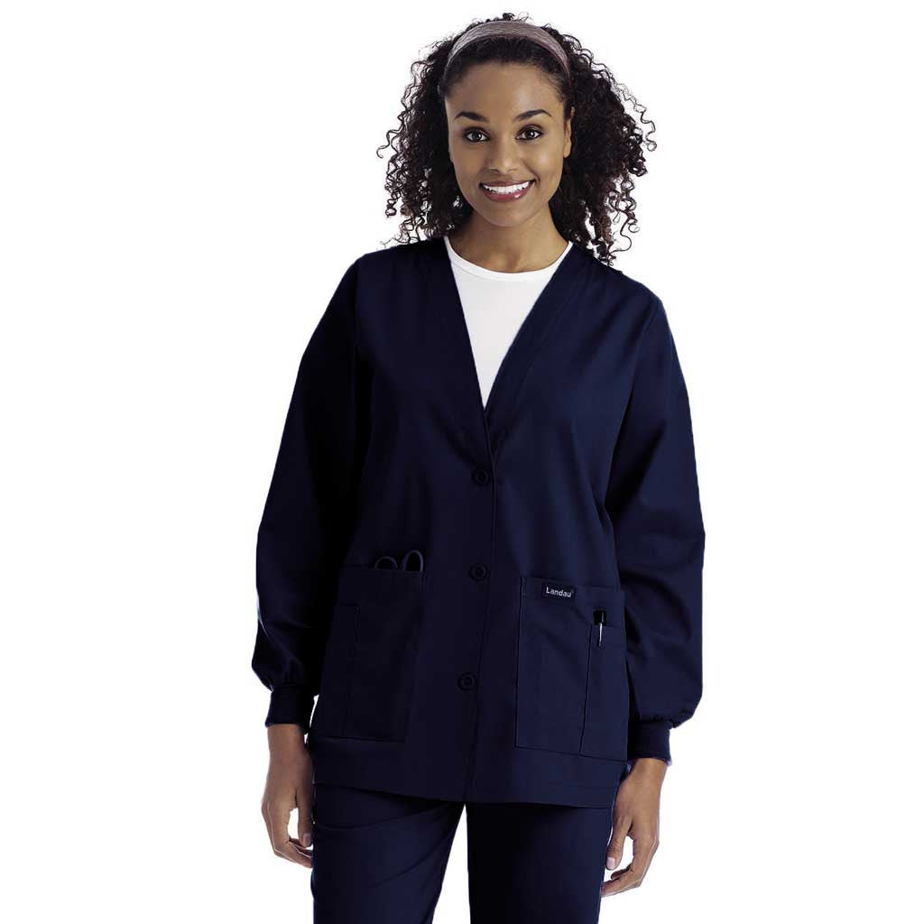 Landau V-Neck Cardigan Warm-up Jacket - 7535 - Hunter Scrubs