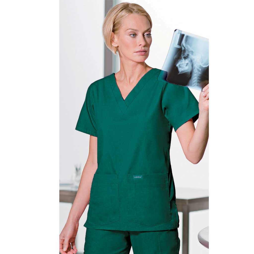 Landau Women's Multi Pocket Scrub Set - Hunter Green