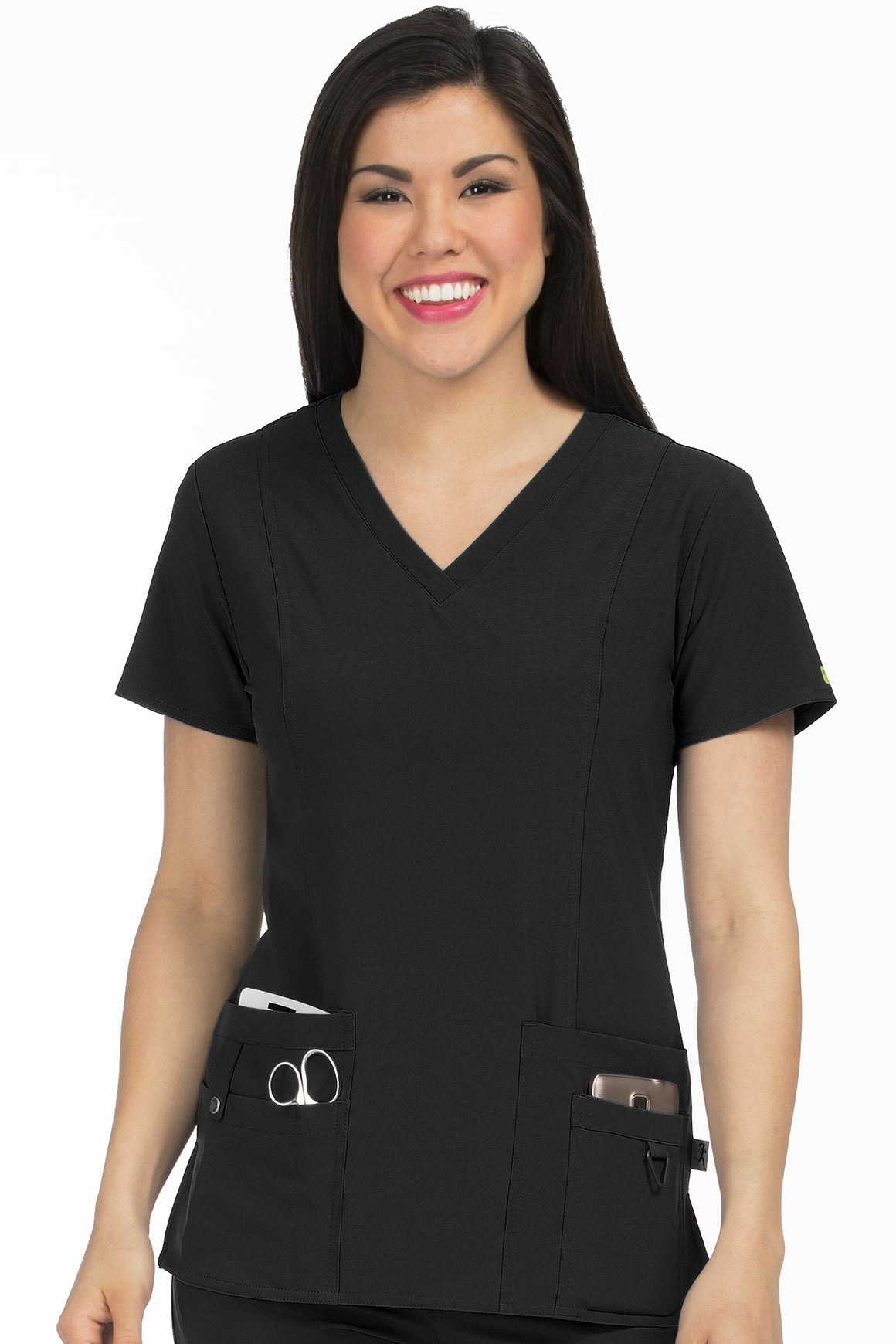 Medcouture In Motion Scrub Top - Black 8408