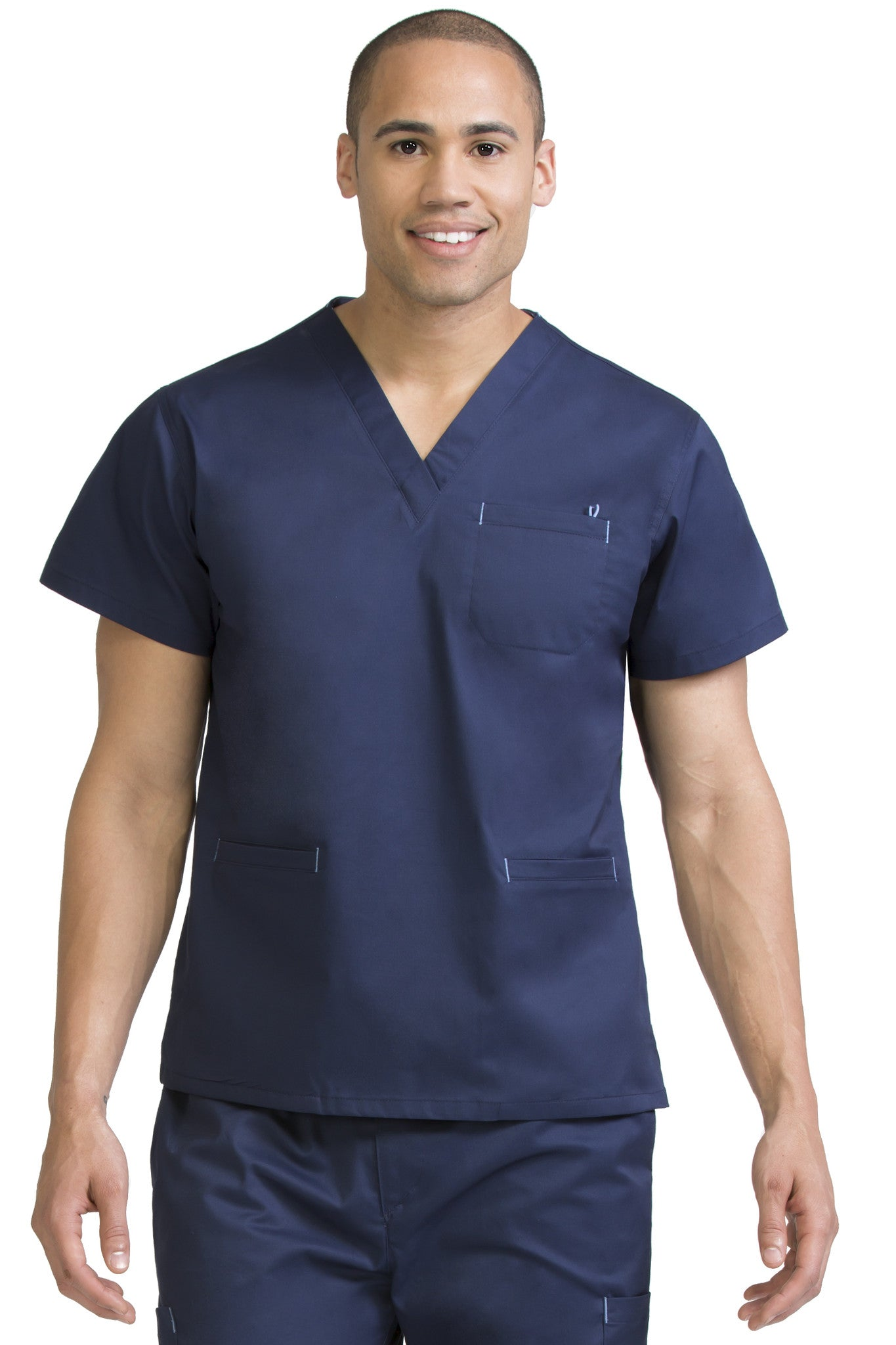 Medcouture Men's 3 Pocket Navy Scrub Top- 8471