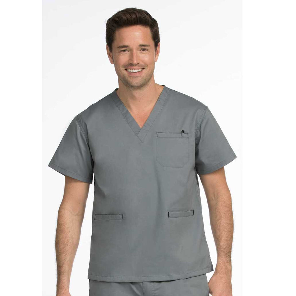 Medcouture Men's 3 Pocket Steel Grey Scrub Top - 8471