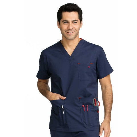 Medcouture Men's Red Alert Scrub Top - 8484