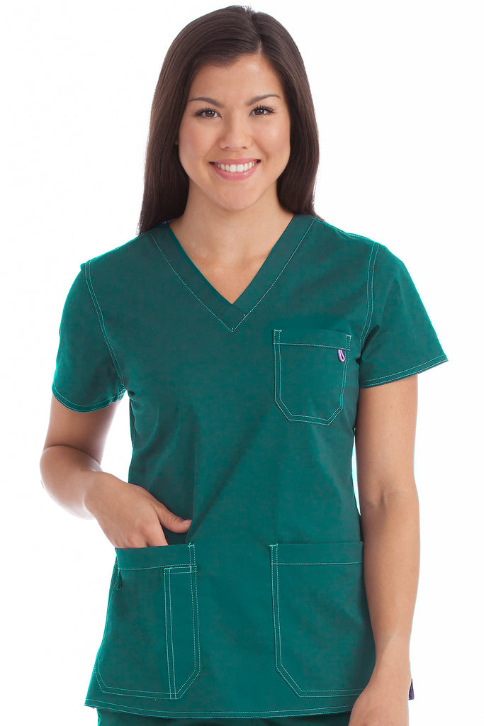 "Medcouture ""Niki""  Hunter Green Scrub Top-8496 (S Only)"