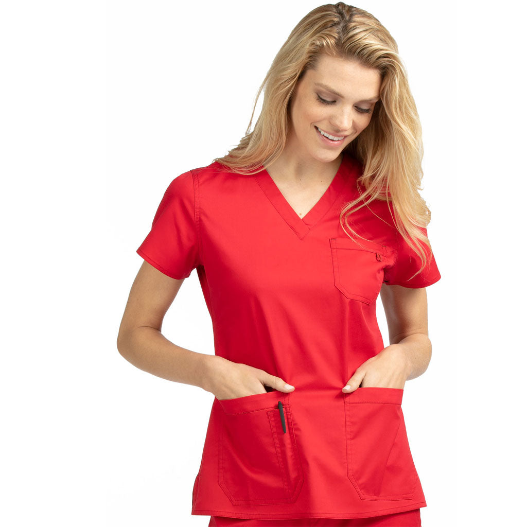 "Medcouture ""Niki"" Red Scrub Top-8496"