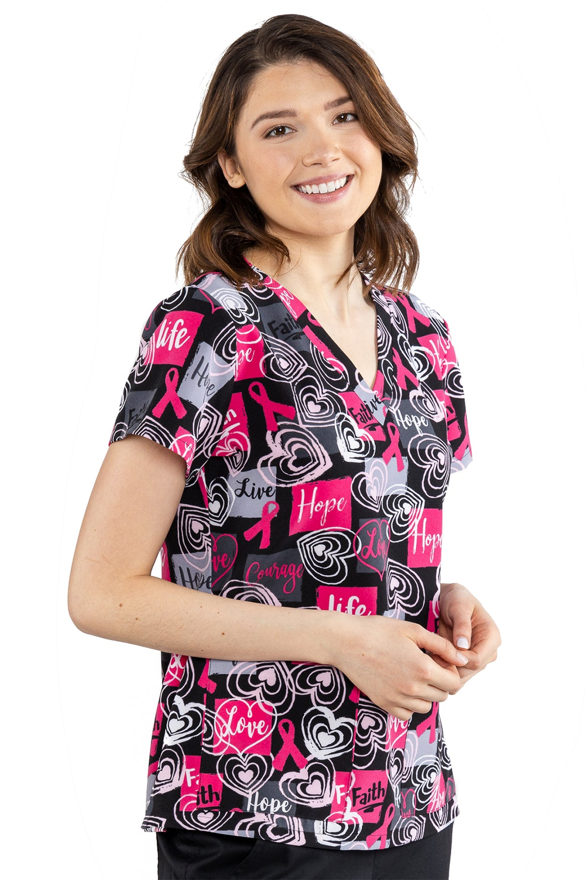 Live, Life, Love, Hope Women's Stretch Scrub Top- 8564