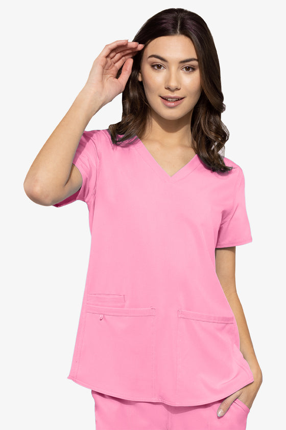 Racer-back Shirttail Taffy Pink Scrub Top - 8579