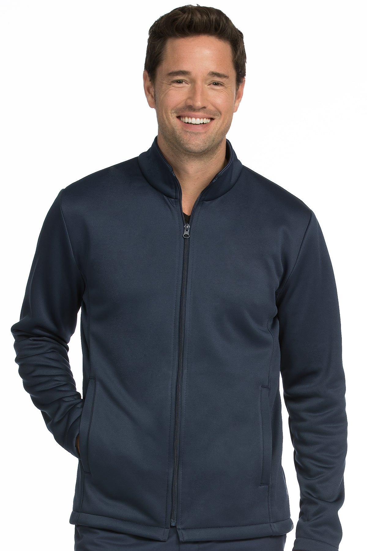 Medcouture Men's Navy Fleece Scrub Jacket- 8688