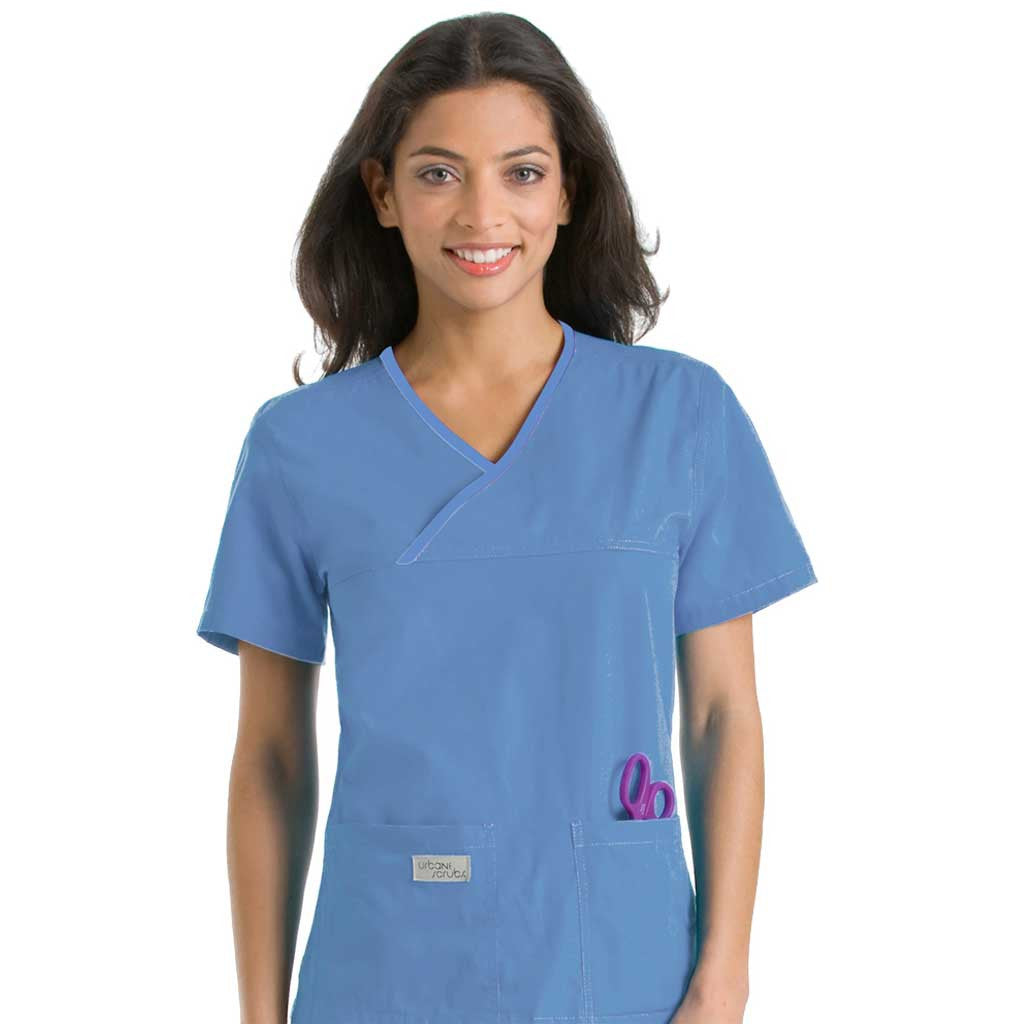 Urbane Double Pocket Crossover Scrub Top - Plain Colours - 9534