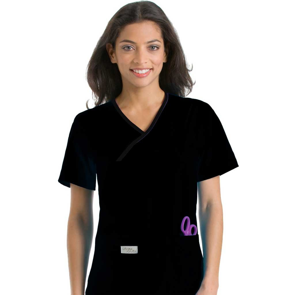 Urbane Crossover Black Scrub Top - 9534 (Discontinued Colour)