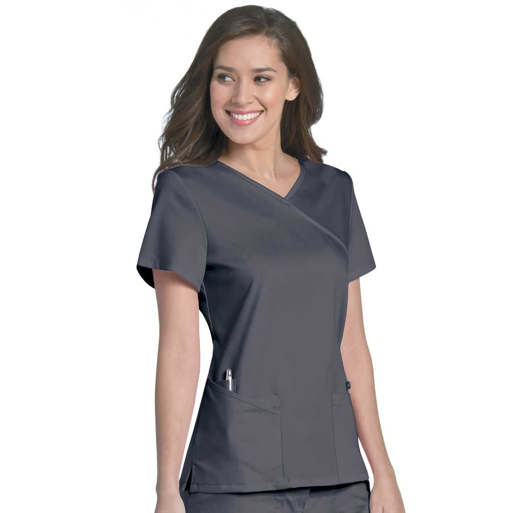 "Urbane ""Sophie"" Crossover Scrub Top Steel Grey - 9577"