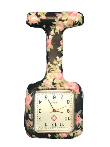 Black Flower Square Nurse Fob Watch