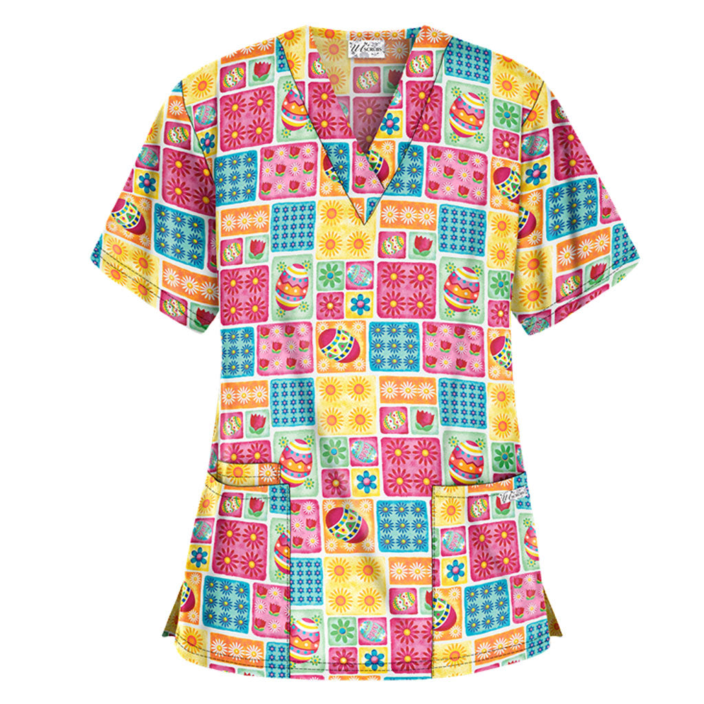 Bright & Happy Easter Scrub Top