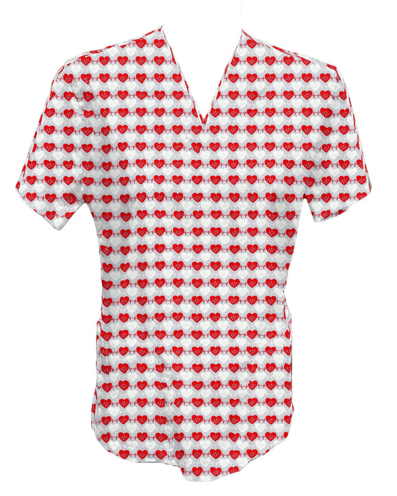 Custom Made WOMEN Patterned Pocket Scrub Top- 2XL to 5XL