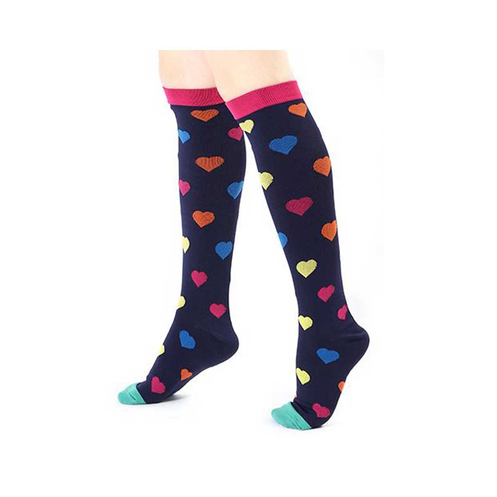 Compression Socks Colourful Hearts