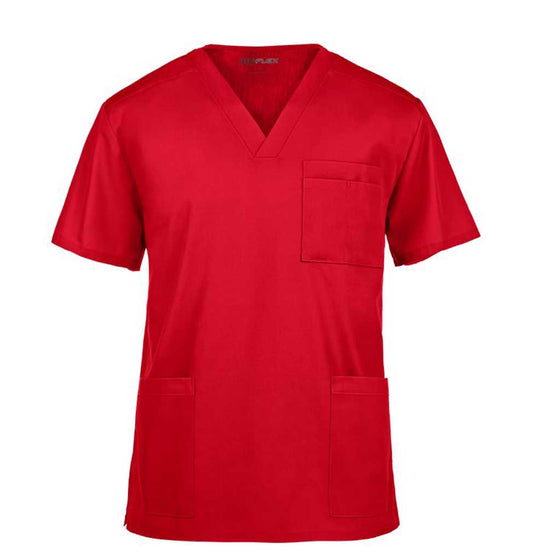 UA Flex Unisex V Neck Red Scrub Top