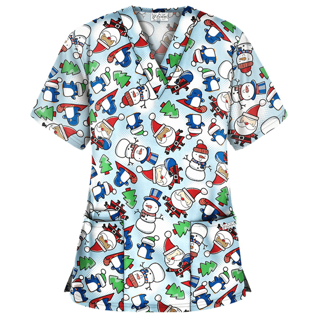 Blue Christmas with Santa Patterned Top