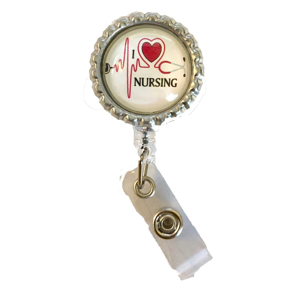 I Love Nursing ID Badge Holder - Hunter Scrubs 3667c35320