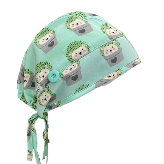 "Maevn ""Hiding Hedgehogs"" Elastic Tie Scrub Cap with Sweatband and Face Mask Ear Saver"