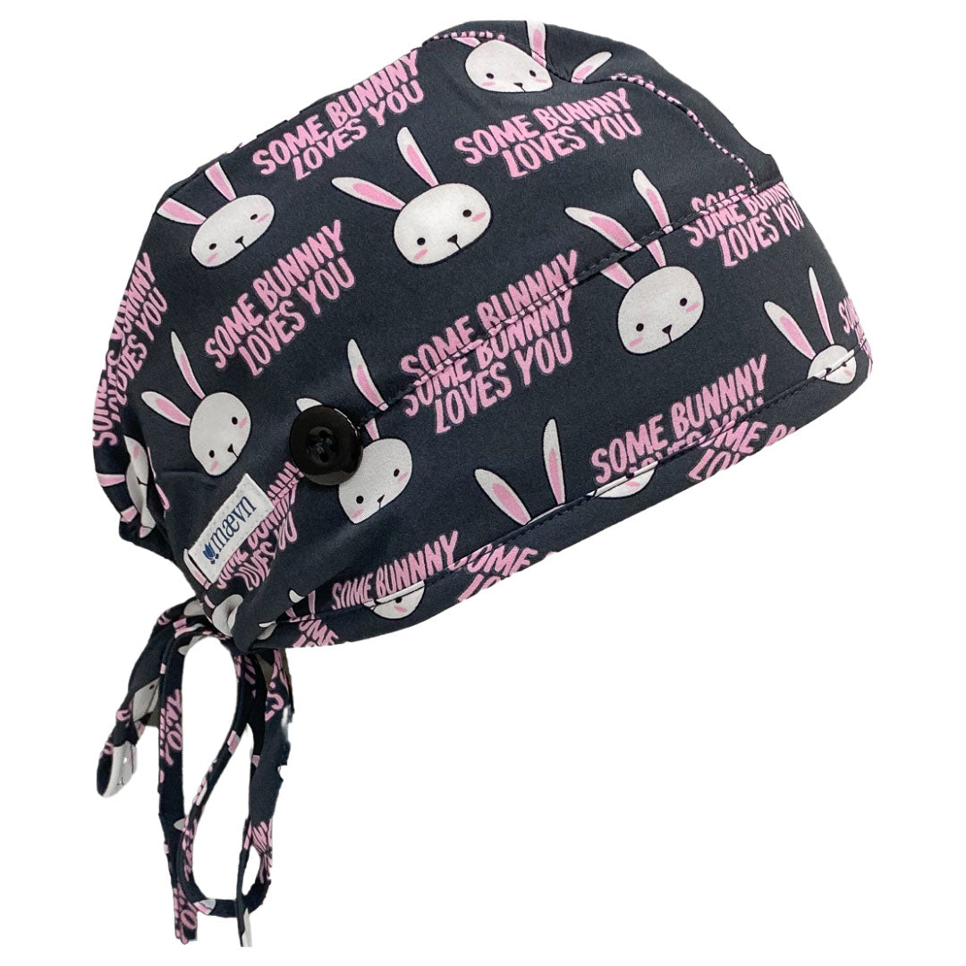 "Maevn ""Some Bunny Loves You"" Elastic Tie Scrub Cap with Sweatband and Face Mask Ear Saver"
