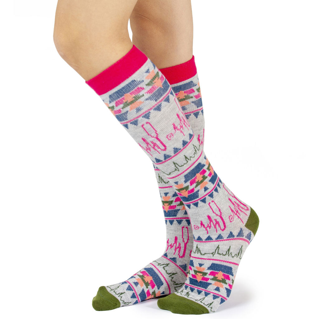 Nurse Pattern Grey Women's Compression Sock
